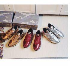 high quality~fashion luxury designer u612 40 41 42 43 44 genuine leather metallic sneakers shoes casual unisexy women men gold silver red