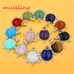 Wholesale Natural Stone Pendant Pendulum Jewelry Amethyst Lapis Lazuli Opal etc Stone Mascot Tortoise Turtle Reiki Charms Amulet Jewelry X Mix Order