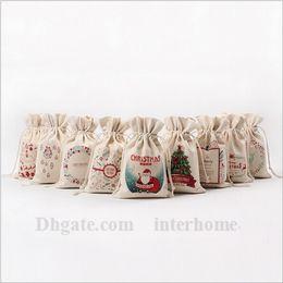 Wholesale Christmas Drawstring Bag Santa Claus Reindeers Christmas Sack Bags Monogrammable Gift Bag Christmas Tree Pouches Candy Storage Bag B994