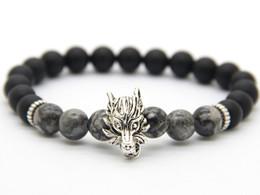 Wholesale 2016 New Design Mens Jewelry Best selling mm Matte Agate Stone Wolf Beaded Bracelet Courage Bracelet