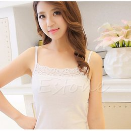 Wholesale-[COCKCON] Women Sleeveless Camisole Basic Stretch Spaghetti Cotton Lace Tank Tops Cami