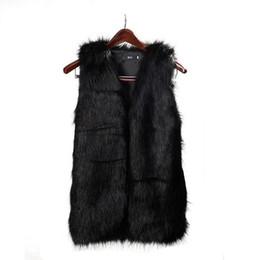 2017 women s faux fur vest Moda Mulheres Faux Fur Vest Especial Slim longo Fuax Fur Coat mulheres XXL Gilet Fourrure Coelho Preto / Vermelho / Brown women s faux fur vest saída
