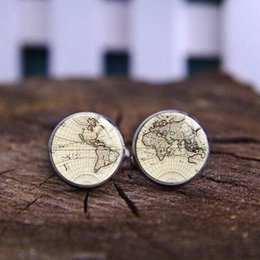 Wholesale 1 by map plated cufflinks card old world cufflinks for men and women shirt Vintage Antique accessories cufflinks