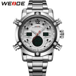 Wholesale 2016 New Luxury Brand WEIDE Men Army Military Watch Men s Quartz LED Digital Clock Full Steel Wrist Watch Men Sports Watches Drop Shipping