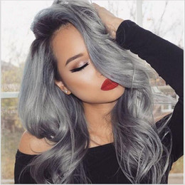 New Arrival 1B Grey Ombre Hair Wig Body Wave Hair Full Lace Wig Silver Grey Ombre Lace Front Wig For Black Woman