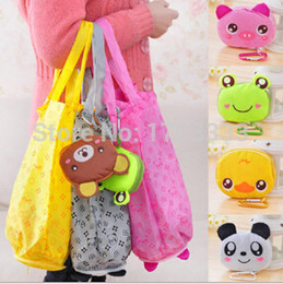 Wholesale 2016 New Japanese style big head animal shopping bag folding portable super large green eco friendly bag