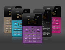 Wholesale AIEK Q1 inch Ultra thin Card Phone Bluetooth FM Audio Player Alarm Clock Low Radiation Students Child Mini Pocket Cell Phone
