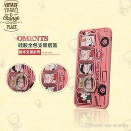 Protection téléphone cellulaire à vendre-Hot Sale de luxe Cartoon Transparent Plating Cell Phone cas de protection avec boucle d'anneau pour Iphone6 6s plus la mode DHL 50Pcs