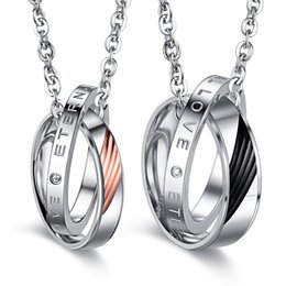 new arrival Stainless Steel couple Pendant Necklaces lovers jewelry free shipping