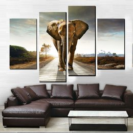 Wholesale 4 Picture Combination Elephant HD Canvas Mural Impression Art Canvas Paintings Home Decoration Painting Prints Frameless