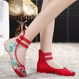 Wholesale High Hibiscus Flowers Women Shoes New Old Beijing Embroidered Cloth shoes Linen Oxford Bottom Leisure Single shoes US4