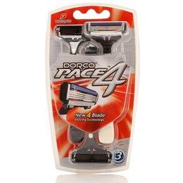 Wholesale DORCO PACE Travel Shaver Men Shaving Anti slip Rubber Handle Manual Disposable Hotels Razor Pieces Package