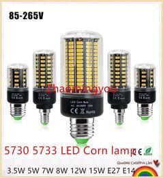 10Pcs 5736 SMD More Bright 5730 5733 LED Corn lamp Bulb light 3.5W 5W 7W 8W 12W 15W E27 E14 85V-265V No Flicker Constant Current