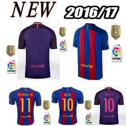 Wholesale Top Thai Barcelona home jersey soccer MESSI ARDA A INIESTA SUAREZ SERGIO PIQUE NEYMAR JR Spain away ball shirt