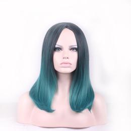 18 pouces perruque synthétique droite en Ligne-WoodFestival Ombre Dark Green Black Straight Short Bob Wig Femme Perruque synthétique en fibre Turquoise Perruques à cheveux résistants à la chaleur 18 pouces