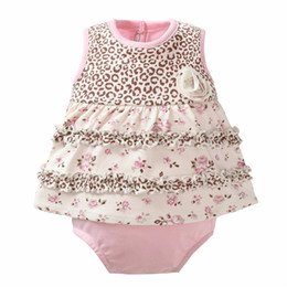 New Style Baby Rompers Girl Animal Ruffled Dress 100% Cotton Flower Rompers 4 Color Newborn Jumpsuit Roupas De Bebe