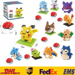 New Poke Pikachu Building Blocks DIY Diamond Bricks Blocks Children Kids Baby Intelligence Educational Particles Toys Gifts Box Pack ZJ-B08