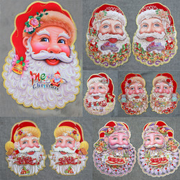 Wholesale Christmas Decoration Articles Wall Window Stickers A Pair Three dimensional Santa Claus Head Portrait Paper Pictures On Match Box Christmas