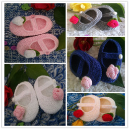 Hot Sale Handmade Baby Crochet Shoes Rose Flower Crochet Baby Girl Shoes , good quality good price very popular Free Shipping