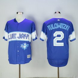 Wholesale Toronto Blue Jays New Style Game Version Mens Jerseys Troy Tulowitzki Blue Cool Base Baseball Jersey Accept Mixed Orders Best Quality