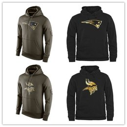 Wholesale Men s Fashion Vikings Black Gold Collection Pullover Hoodies Olive Green Patriots American Football Hoodies Sweatshirts