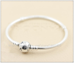 925 Sterling Silver Mickey Bracelet with Clear Cz Round Clasp Fits European Style Jewelry Charm and Beads