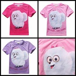 Wholesale 2016 The Secret Life of Pets summer girls T shirt short sleeve baby girl Tshirts purple pink red girl s top tees animal bird kids clothing