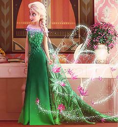 Wholesale Shorter Wedding Dresses For Boat - Hot Selling top quality Elsa princess dress for wedding party dresses costume baby toddler big kids