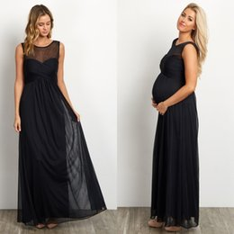 Wholesale absolutely gorgeous maternity evening dresses meshed neckline and ruched bust a line full length black chiffon formal occasion evening gowns