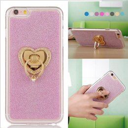Wholesale For iPhone S Plus Bling Glitter Soft TPU Gel Case Gold Chrome Finger Ring Cover For iPhone S Stand Phone Cases
