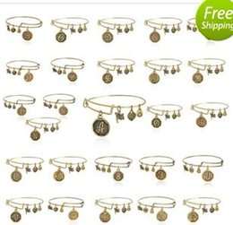 Wholesale 26 letter Alex and Ani adjustable Charm statement bracelets gold silver Wiring expandable pendant bangles band cuffs Christmas gift free shi