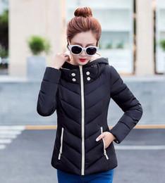 Wholesale New Wadded Winter Jacket Women Cotton Short Jacket Fashion Girls Padded Slim Plus Size Hooded Parkas Stand Collar Coat