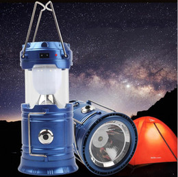 Wholesale 5W Use Hand Portable Lamp Collapsible Rechargeable Solar Lantern Tent Light for Hiking Camping Outdoor Lighting b312