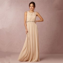 Wholesale 2015 Trendy Long Chiffon Champagne Bridesmaid Dresses Vestidos De Festa Vestido Longo Wedding Guest Dresses Store Online