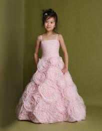 2016 Spring New Charming Blush Pink Spaghetti Straps Lovely Little Girl's Pageant Dresses Birthday Wedding Custom Made Flower Dresses