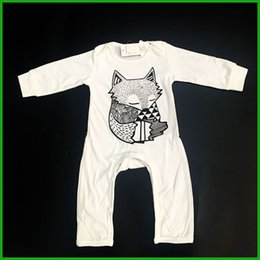 winter baby boys rompers long pants sleeve white color baby jumpsuits fox print o-neck kids toddler bodysuits outfits fast free shipping