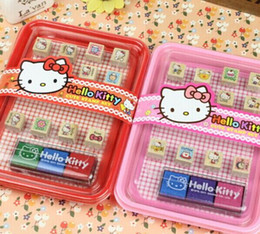 Wholesale-1Set Super Kawaii NEW Hello Kitty Drawing TOY Mini Wood TOY Stamp Set BOX Seal ; Cartoon Tumbler TOY DOLL Stamp Seal