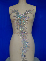 Pure hand made clear AB colour sew on Rhinestones applique crystals patches 58*28cm dress accessory