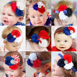 3 Chiffon Flowers headbands- 4th of July Shabby Frayed Vintage look Chiffon Rosette Flowers with rhinestone or pearl decoration