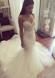 2016 New Sexy Mermaid Wedding Dresses Spaghetti Straps Delicate Lace Appliques Court Train Wedding Bridal Gowns Plus Size