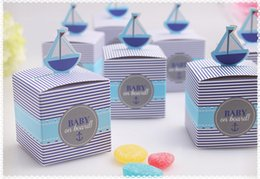 Wholesale New Blue quot Baby On Board quot Pop Up Sailboat Candy Favor Boxes box for Baby Shower With