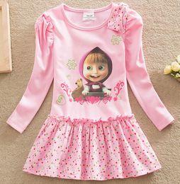 Wholesale Girl tutu princess dress children spring clothing Long sleeve Cotton dress for girls kids cartoon Masha Bear Dot dress T D297