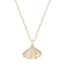 Wholesale 10pcs New Style Everyday Tiny K Gold Nature Ginkgo Leaf Necklace Ginkgo Biloba Necklaces Chokers for Girls Schmuck