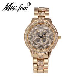 Wholesale Fashion Generous Women Large Dial Quartz Watch Luxury Hollow Flower Female Watch Bling Rhinestone Lady Party Dinner Bracelet Watches Online