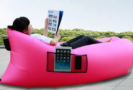 Wholesale inflatable air lounge sleep bag with pocket beach sofa portable Hangout Lounger Chair Beach Sleep bag