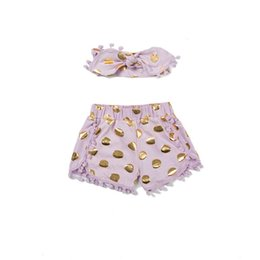 Baby Girl Short and Turban style Headband ,Gold Polka Dots Baby Girls Outfit ,Pom Pom little girs outfit ,summer baby clothes