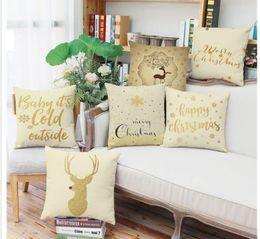 Wholesale KYYZROZZZ Christmas pillow case Christmas tree Santa Claus deer elk cotton linen cushion cover pillow cover