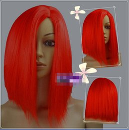 FREE SHIPPING>35cm Red Heat Heat Resistant Fiber Side Part Short Cosplay Wigs