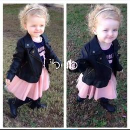 Wholesale 2016 childrens PU Jacket coats Long Sleeve Kids Girls PU Leather Jacket Beads Zipper Lace Chiffon Kids Apparels Children Clothing