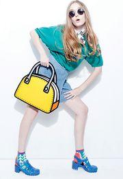 2016 Hot Sale Women Shoulder bag 3D Cartoons bag 2D Drawing Cartoon Messenger Bags Novely Comics Paper handbag Casual hand bag